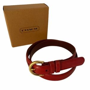 Coach Red Classic Leather Belt Large